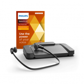 Philips LFH-7277 Professional Transcription Kit with SpeechExec Pro Transcribe software & USB Foot Control