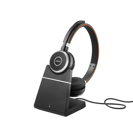 Jabra Evolve 65+ Stereo Wireless Bluetooth Headset with charging stand
