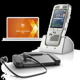 Dictation Transcription Starter Kit - Philips DPM8000 Dictation Voice Recorder : Phiips LFH7277 Transcription Kit : USB Foot Pedal : Transcription Headset
