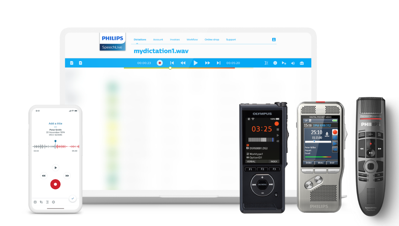 Dictate with a dictation voice recorder, SpeechMike or SpeechLive Dictation Recorder App