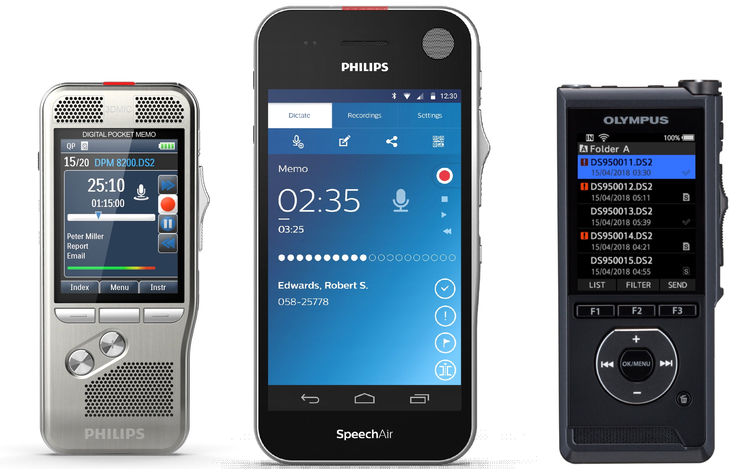 Portable hand held dictation recorders : Philips DPM : Olympus DS : SpeechAir